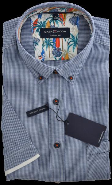 1/2 Arm Freizeithemd in fein kariert mit blau