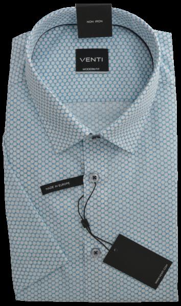 1/2 Arm Freizeithemd in Retro gemustert mit weiß