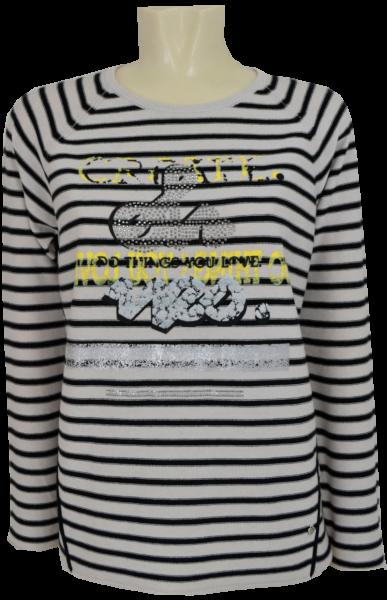 Leichter 1/1 Arm Pullover in geringelt mit Glanz