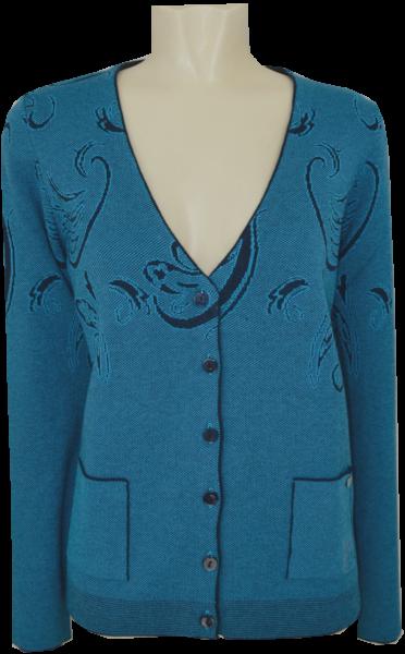 Strickjacke in turquoise gemustert