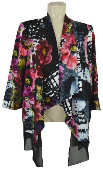 Blusenjacke in allover floral gemustert