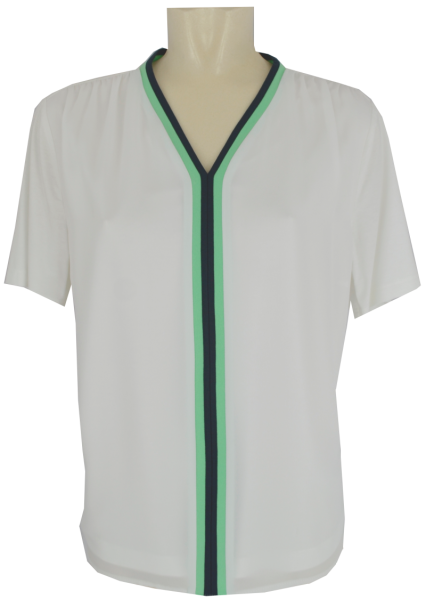 1/2 Arm Shirt weiß-marine-grün