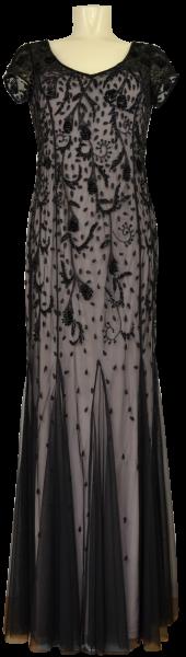 Langes Abendkleid mit Pailletten in black-beige