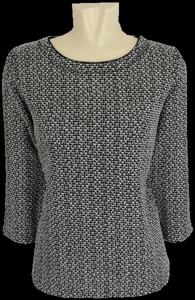 Leichter Pullover in schwarz-weiß gemustert
