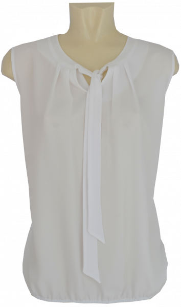 Bluse ohne Arm in weiß mit Schluppe