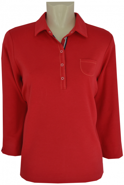 3/4 Arm Polo Shirt in uni rot