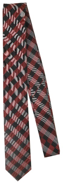 Krawatte Reine Seide in Rot-Grau kariert