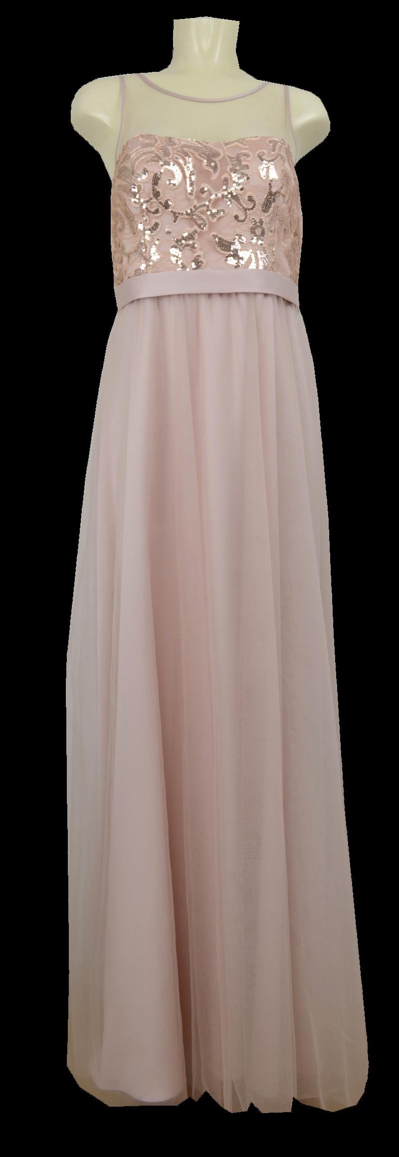 Langes Abendkleid in rose beige