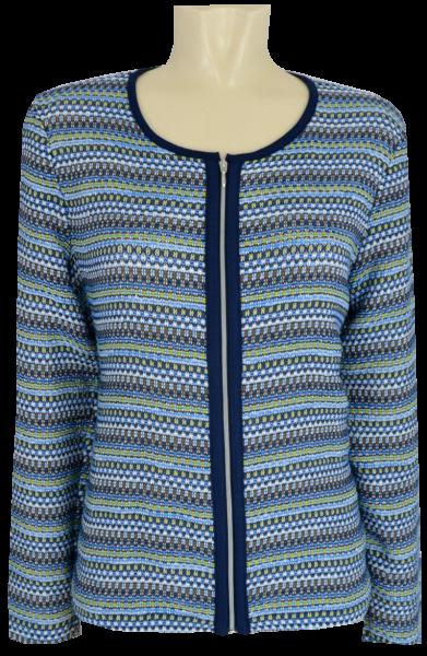 Blazer Jacke in mehrfarbig mit blau gemustert und Glanz