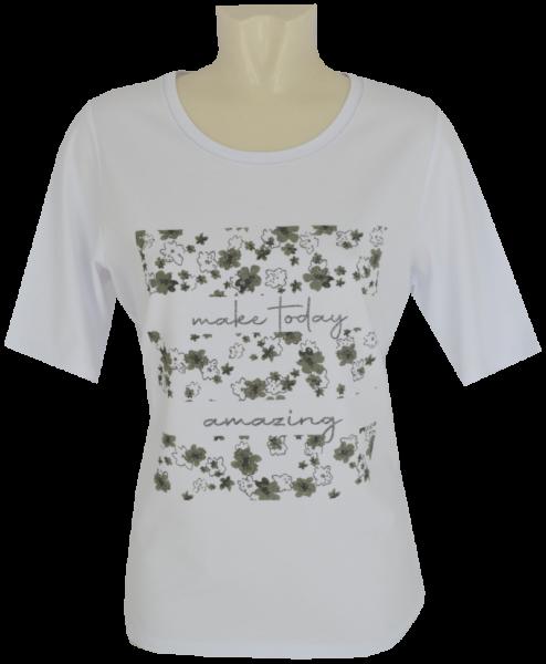 1/2 Arm T-Shirt in weißgrundig mit Print