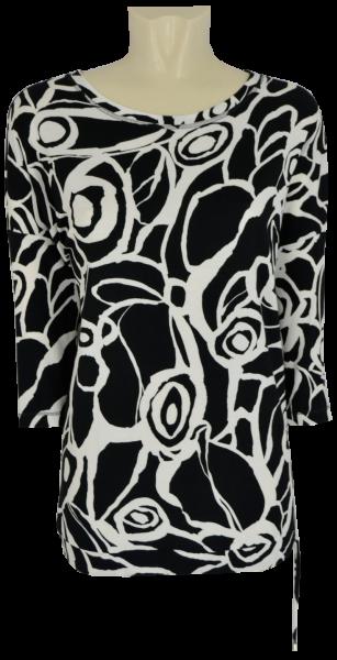3/4 Arm Shirt in schwarz-weiß