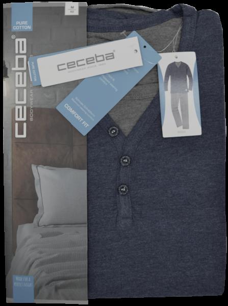 Herren Pyjama lang in blau-grau meliert