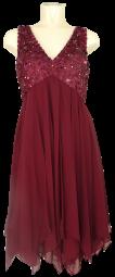 Cocktailkleid in deep red mit Blütenapplikationen und Pailletten