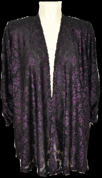 Offene Jacke in schwarz-lila mit Glanz