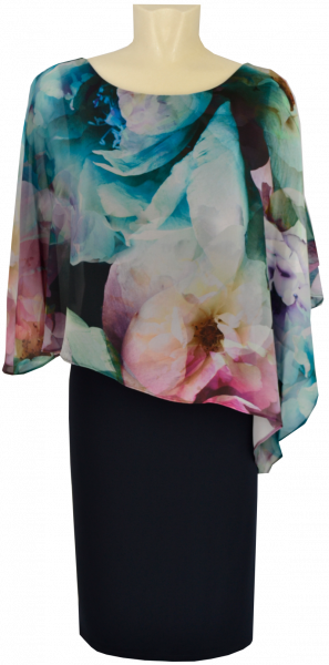 Mittellanges Kleid mit floralem Druck in dark blue-pink