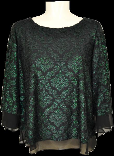 Festliches Shirt in schwarz-opalgrün mit Glanz