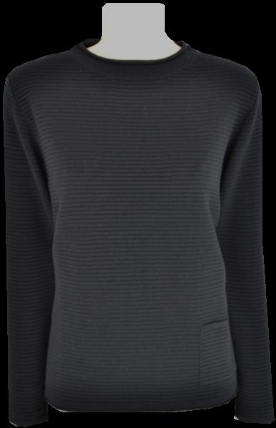 Turtle Pullover in uni schwarz