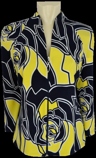 Elegante Jacke in marine-gelb gemustert