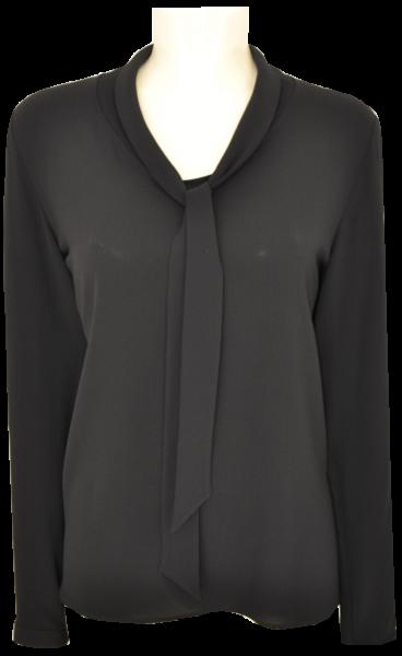 Bluse in uni schwarz mit Schluppe