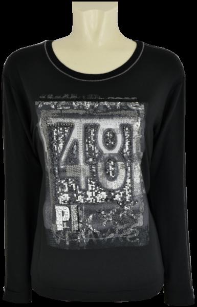 1/1 Arm Shirt in schwarz mit Pailletten und Glanz