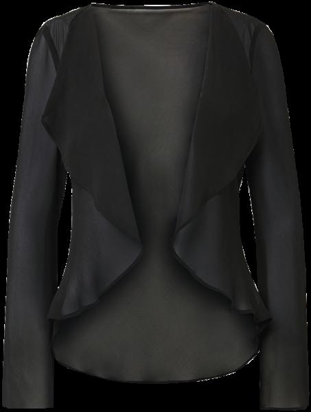 Chiffon Jacke mit Wasserfallkragen in schwarz