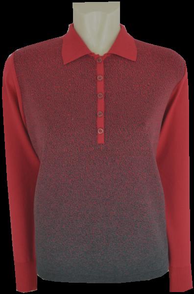 Pullover mit Kragen in mehrfarbig mit granat