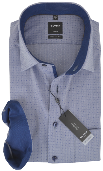 Business -und Freizeithemd in bleu mit feinem Muster