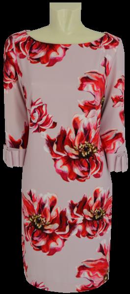Mittellanges Kleid mit floralem Druck in red-rose