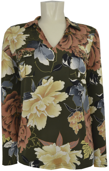 1/1 Arm Bluse in Khaki-Nude floral gemustert