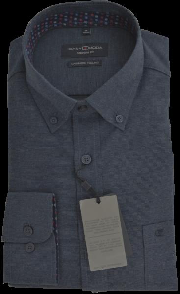 1/1 Arm Freizeithemd in blau mit feiner Struktur