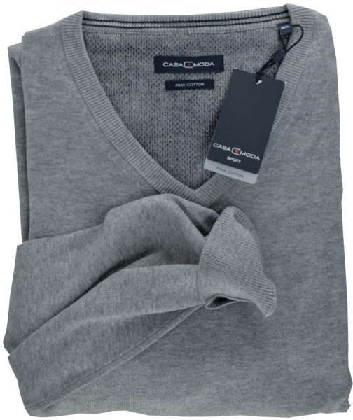 Pullover mit V-Ausschnitt in silber-grau meliert
