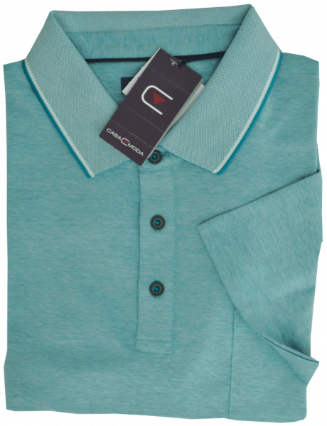 1/2 Arm Polo Shirt in türkis-grün meliert