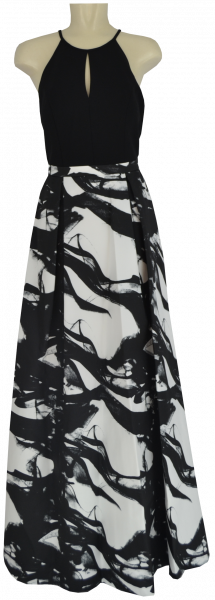 Langes Ballkleid in weiß-schwarz mit Druck