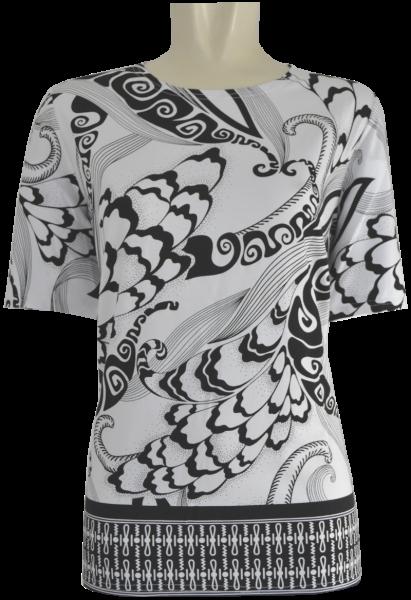 1/2 Arm T-Shirt in schwarz-weiß