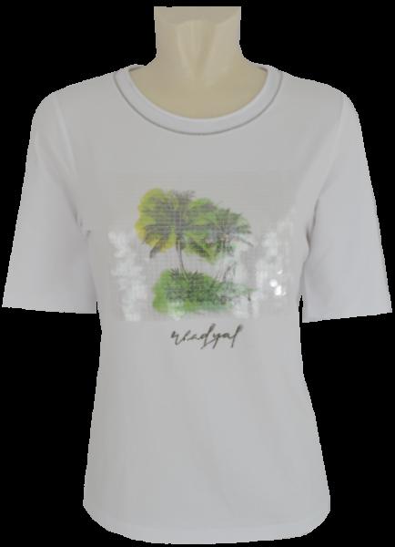 1/2 Arm T-Shirt in weiß mit Glanz