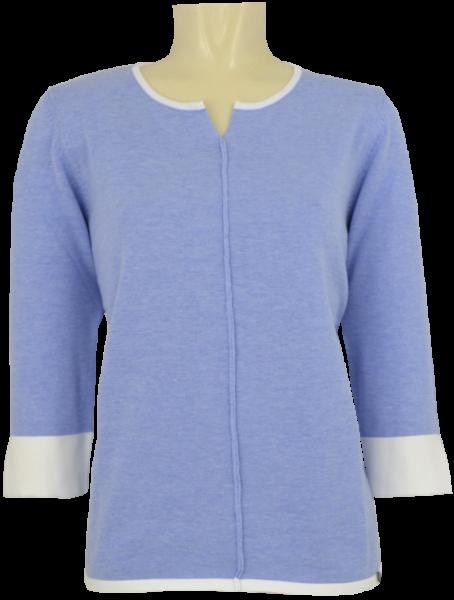 Leichter Pullover mit 3/4 Arm in bleu meliert