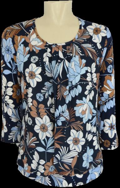 3/4 Arm Blusen-Shirt in mehrfarbig gemustert mit blau-braun