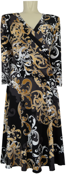 Kleid in gemustert mit gold