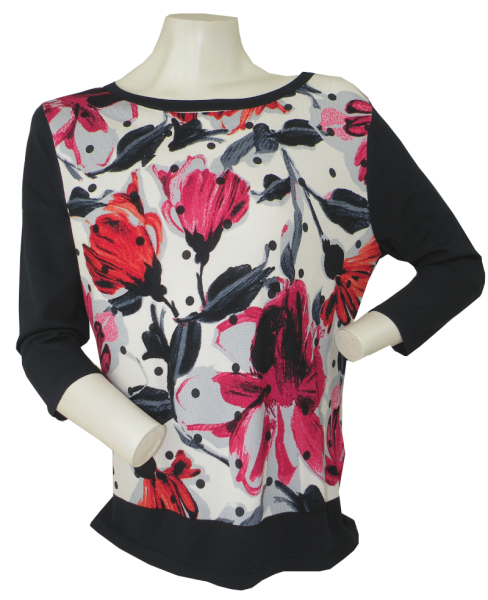 Pullover mit 3/4 Arm in floral gemustert