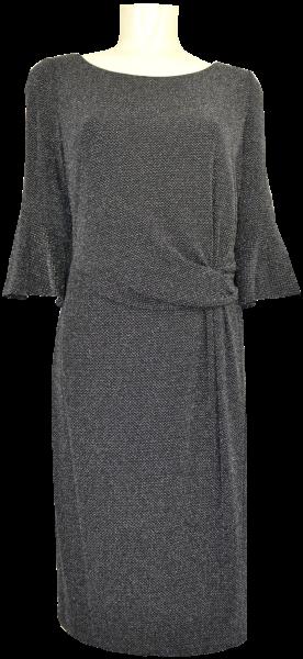 Mittellanges Abendkleid mit Lurex in Black-Silver