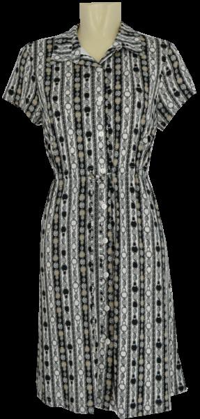 Hemdkleid in schwarz-weiß gemustert