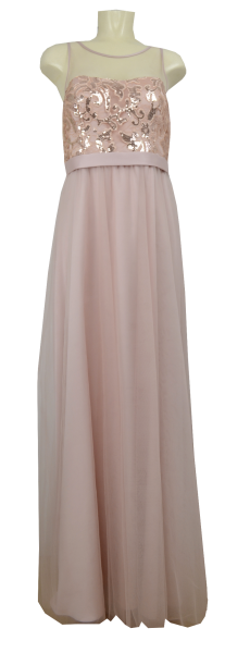 Langes Abendkleid in rose beige