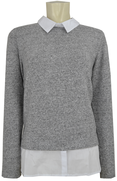 Blusenpullover in grau meliert