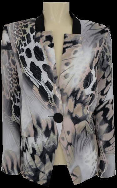 Jacke festlich in natur-grau-schwarz gemustert