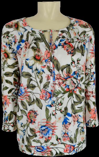 3/4 Arm Blusen-Shirt in allover floral gemustert