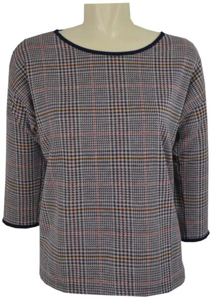 Sweat Pulli mit 3/4 Arm in checked jersey