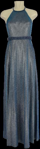 Langes Ballkleid mit Glanz in silver-blue