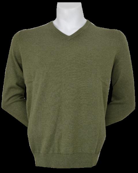 Pullover mit V-Ausschnitt in oliv