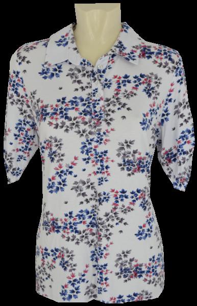 1/2 Arm Polo-Shirt in weiß-blau floral gemustert
