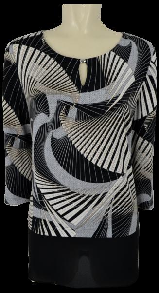 Festliches Shirt in schwarz-grau-beige gemustert